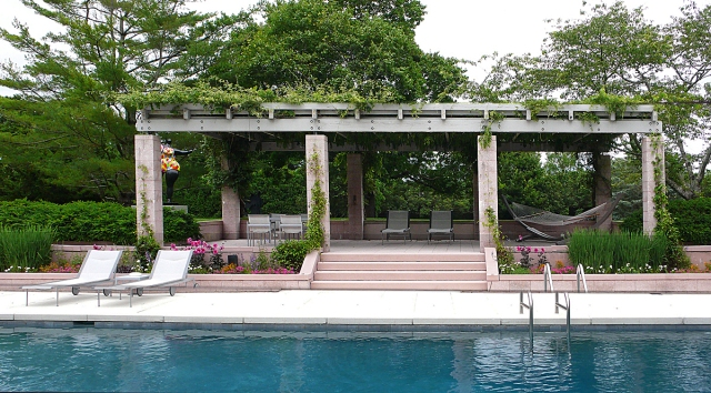 The Riggio pool house.