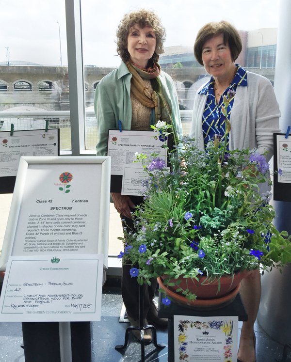 In Rochester, NY, horticulture co-chair Renee Shamosh and former club president Anne Myers with the winning entry